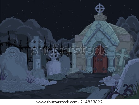 Illustration of night gothic cemetery - stock vector