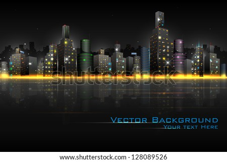 illustration of night scene of city with illuminated building