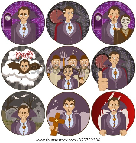 illustration of nine different vampire funny stickers - face expressions. - stock vector