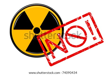 illustration of no with nuclear sign on white background - stock vector
