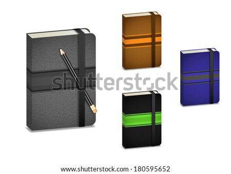 Illustration of notebook collection with pencil isolated