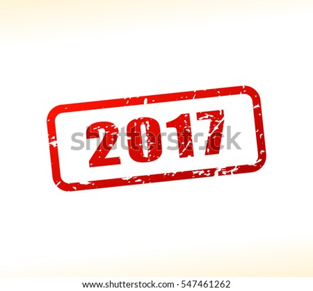 Illustration of 2017 number buffered on white background