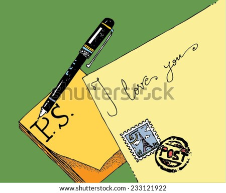 illustration of objects: an envelope with a stamp, post-it paper, a pen, message: P.S. I love you/vector P.S. I love you - mail and pen - color/digital vector - stock vector