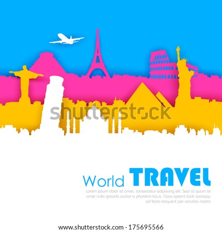 illustration of of travel background with world famous monument - stock vector