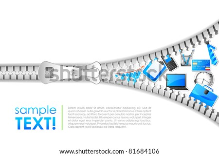 illustration of office element coming out of zipper - stock vector
