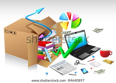 illustration of office stationery with notebook and pie chart splashing from carton