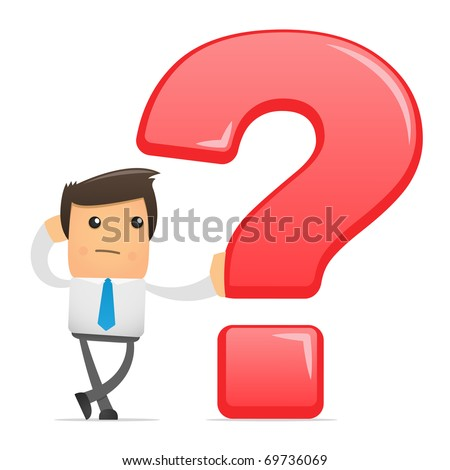 illustration of office worker with a big question - stock vector