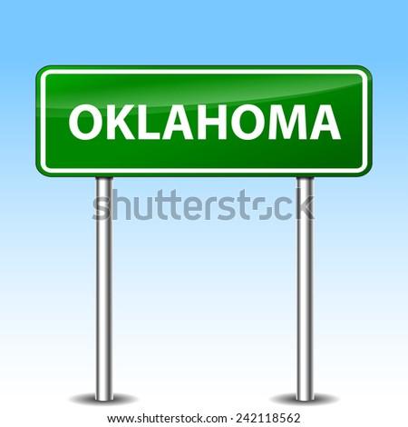 Illustration of oklahoma green metal road sign - stock vector