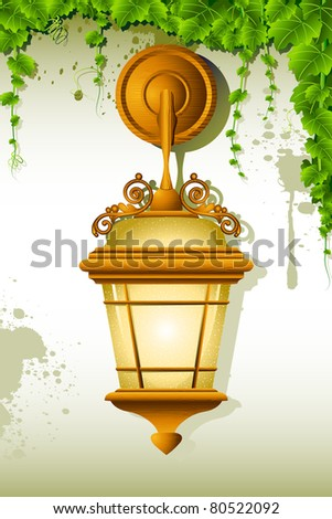 illustration of old lamp hanging on wall with creeper - stock vector