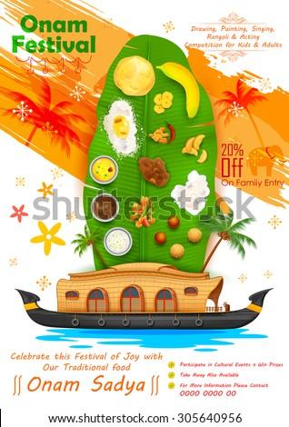 illustration of Onam feast on banana leaf - stock vector