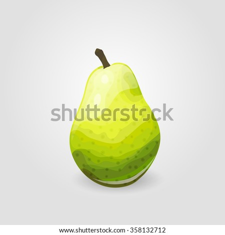 Illustration of one ripe pear. Fruit icon - stock vector