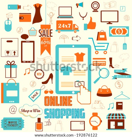 illustration of online shopping concept in retro flat style - stock vector