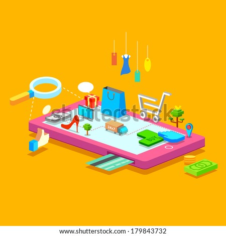 illustration of online shopping concept on mobile phone - stock vector