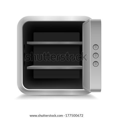 Illustration of open empty safe on white background - stock vector