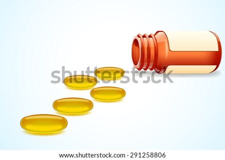 illustration of opened bottle with omega pills on light blue background - stock vector