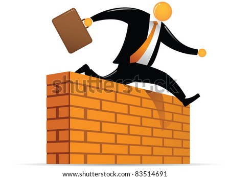 Illustration of orange head jumping through wall - stock vector