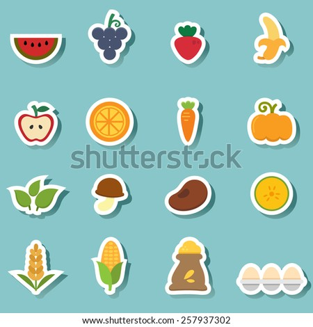 illustration of organic natural food icon vector - stock vector