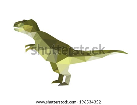 Illustration Of Origami Dinosaur Isolated On White Background