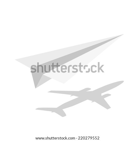 illustration of origami paper airplane on white background - stock vector