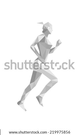 Illustration of origami woman athelete, isolated on white background - stock vector