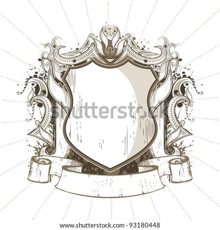 illustration of ornate heraldic shield in retro style - stock vector