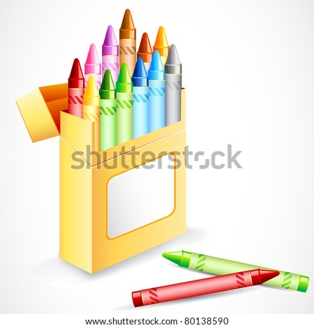 illustration of pack full of colorful crayon color - stock vector
