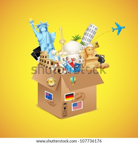 illustration of package full of famous monument with air ticket and airplane flying - stock vector