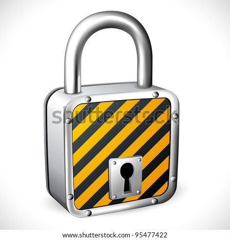illustration of padlock with striped texture on isolated background