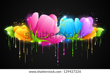 illustration of paint dripping from colorful flower - stock vector