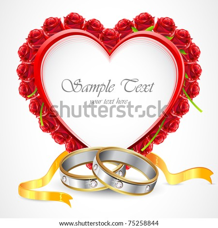 illustration of pair of engagement rings with rose around on abstract background - stock vector