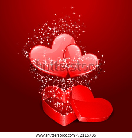illustration of pair of heart coming out from gift box with sparkeling - stock vector