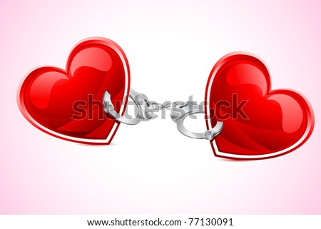 illustration of pair of heart tied with hand cuff - stock vector