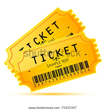 illustration of pair of ticket on white background - stock vector