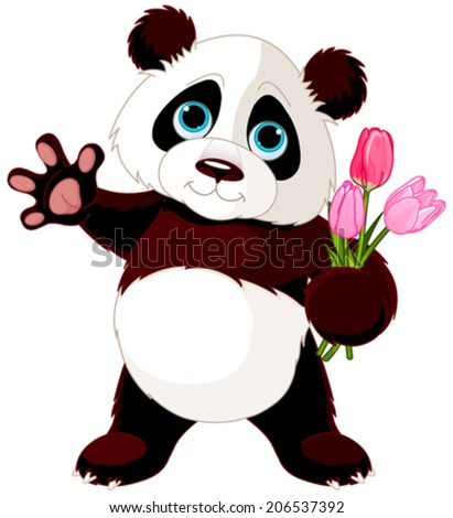 Illustration of Panda holding bouquet of tulips - stock vector