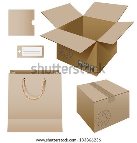 Illustration of paper packaging, set. Vector. - stock vector