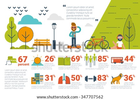 Illustration of park infographic concept with icons and elements - stock vector