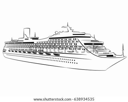 Illustration Passenger Ship Black White Drawing Stock Vector - Draw a cruise ship