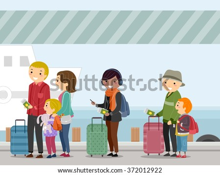 Illustration of Passengers Waiting to Board a Ship - stock vector