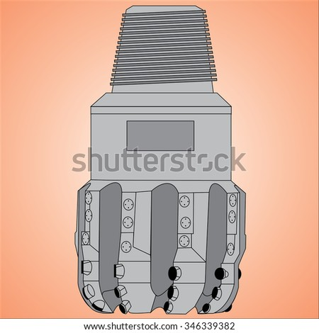 Illustration of PDC Drilling Bit - stock vector