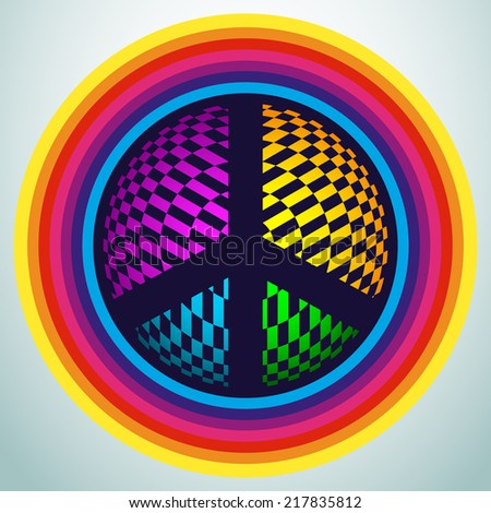 illustration of peace sign made of colorful geometric elements  - stock vector