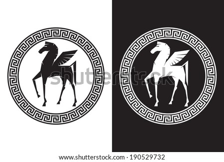 Illustration of Pegasus the flying horse - stock vector