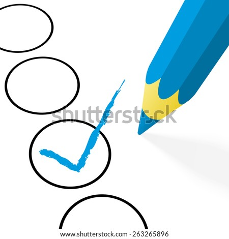 illustration of pencil colored blue drawing a hook - stock vector