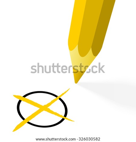 illustration of pencil colored yellow drawing a cross - stock vector