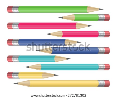 Illustration of pencils in various colors with erasers isolated  - stock vector