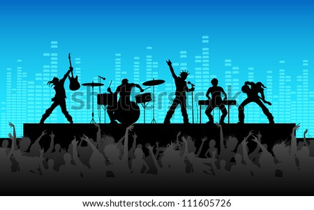 illustration of people cheering rock band performance - stock vector