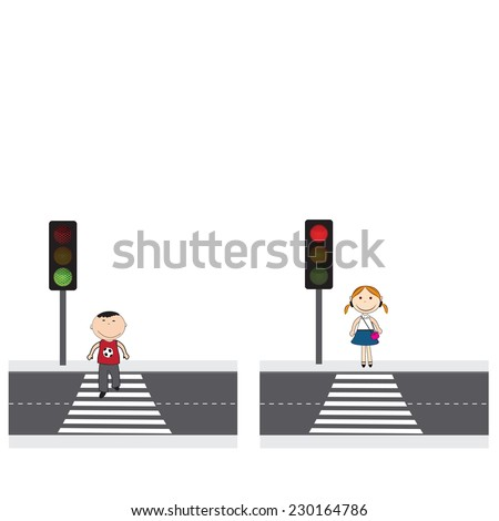 Illustration of people crossing the street in the city - stock vector
