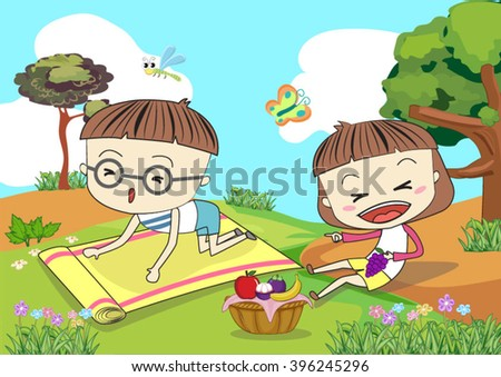 illustration of people having a picnic - stock vector