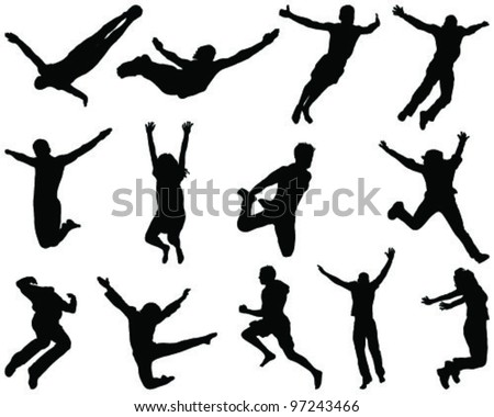Illustration of people jumping and flying, silhouettes - stock vector