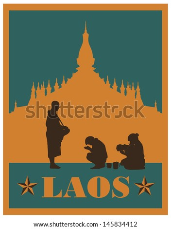 Illustration of people offering food to monk silhouette, vector - stock vector