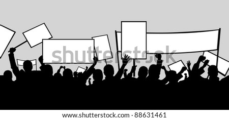 illustration of people protesting - stock vector
